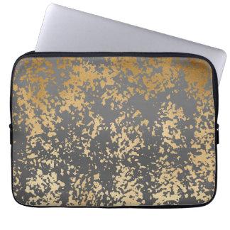 Protection Pour Ordinateur Portable or élégant de faux de poussin et traçages gris