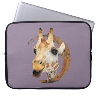 Protection Pour Ordinateur Portable Peinture de girafe avec le cadre de cercle d'or de