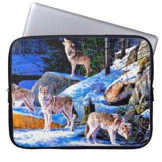 Protection Pour Ordinateur Portable peinture de loup - famille de loup - wolfpack