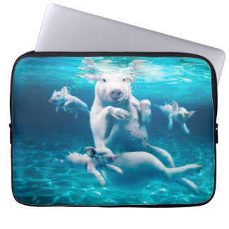 Protection Pour Ordinateur Portable Plage de porc - porcs de natation - porc drôle
