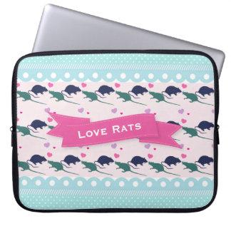 Protection Pour Ordinateur Portable Point de polka de rats d'amour