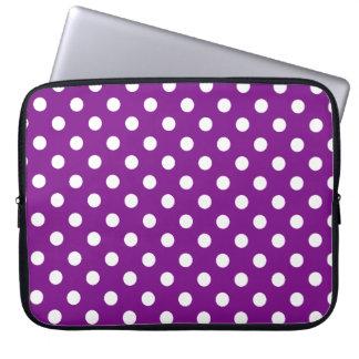 Protection Pour Ordinateur Portable Point de polka pourpre et blanc