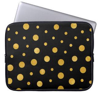 Protection Pour Ordinateur Portable Pois élégant - or noir