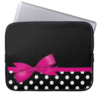 Protection Pour Ordinateur Portable Pois noir et blanc d'arc rose