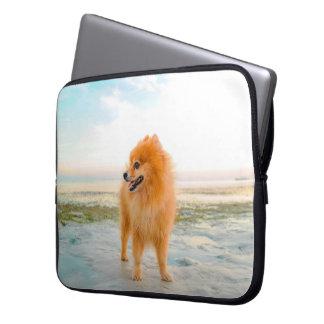 Protection Pour Ordinateur Portable Pomeranian orange mignon sur la plage