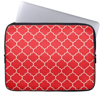 Protection Pour Ordinateur Portable Quatrefoil rouge et blanc