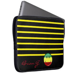 Protection Pour Ordinateur Portable Rasta de sourire rond brillant colore le drapeau