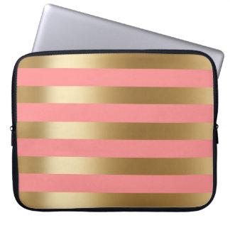 Protection Pour Ordinateur Portable Rayure mignonne de corail et d'or