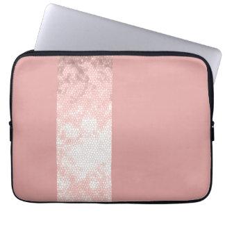 Protection Pour Ordinateur Portable rayures roses de rose d'or de faux clair élégant