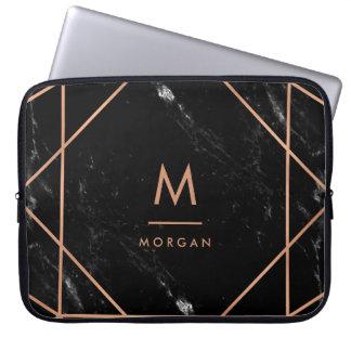Protection Pour Ordinateur Portable Regard de marbre | noir géométrique d'or rose de
