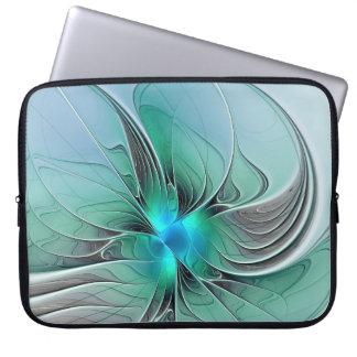Protection Pour Ordinateur Portable Résumé avec l'art bleu et moderne de fractale