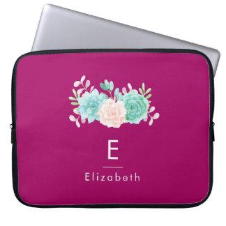 Protection Pour Ordinateur Portable Rose en pastel et bouquet floral vert sur le dos