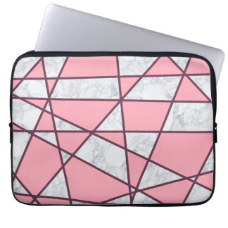 Protection Pour Ordinateur Portable rose en pastel et rouge de marbre blancs