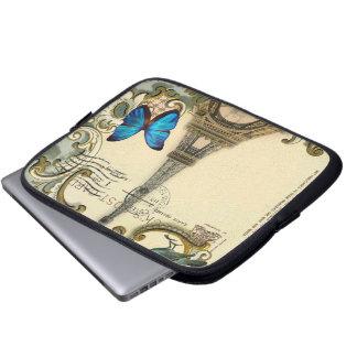 Protection Pour Ordinateur Portable Tour Eiffel vintage de Paris de remous de bleu de