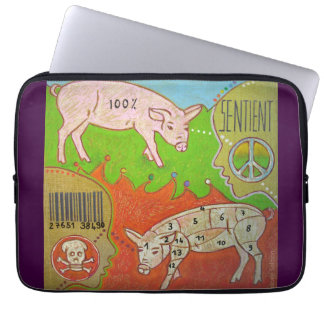 Protection Pour Ordinateur Portable Vegan sentient animal computer cover