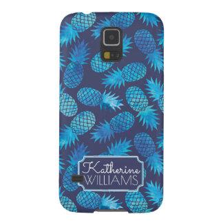Protections Galaxy S5 Les ananas bleus de colorant de cravate   ajoutent
