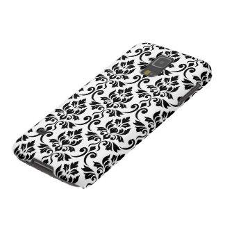 Protections Galaxy S5 Noir de motif de damassé de Feuille grand sur le