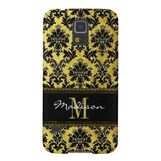 Protections Galaxy S5 Noir et damassé d'or, dentelle, nom et monogramme