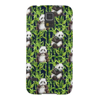 Protections Galaxy S5 Panda avec le motif en bambou d'aquarelle