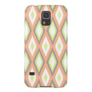 Protections Galaxy S5 Pêche et motif vert d'Ikat