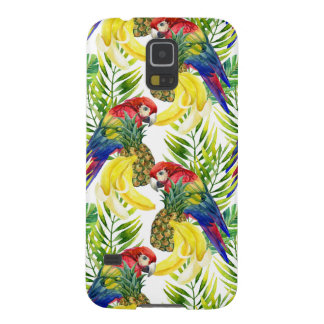 Protections Galaxy S5 Perroquets et fruit tropical