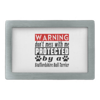 Protégé par le bull-terrier du Staffordshire Boucle De Ceinture Rectangulaire