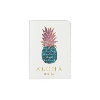 Protège-passeport Ananas et or colorés d'aquarelle Aloha