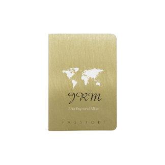 Protège-passeport carte du monde sur le voyage d'or de faux féminin