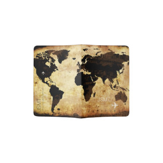 Protège-passeport carte grunge âgée du monde, voyage