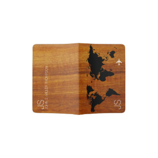 Protège-passeport carte rustique et élégante du monde sur des grains