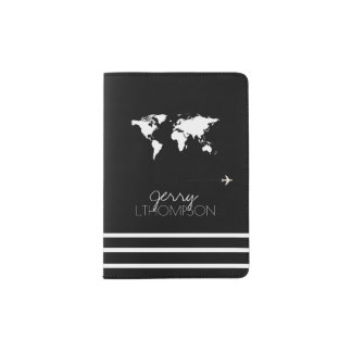 Protège-passeport document de voyage de carte du monde/noir et blanc