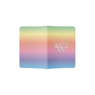 Protège-passeport L'arc-en-ciel en pastel coloré colore le