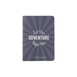 Protège-passeport Le bleu a laissé l'aventure commencer maintenant