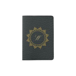 Protège-passeport Le cercle ornemente le monogramme sur le cuir