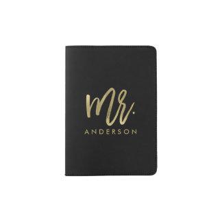 "Protège-passeport Manuscrit ""M. nom de famille "" de brosse d'or"