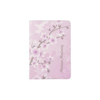Protège-passeport Monogramme rose sombre de fleurs de cerisier