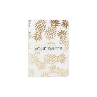 Protège-passeport motif tropical d'ananas d'or élégant de faux