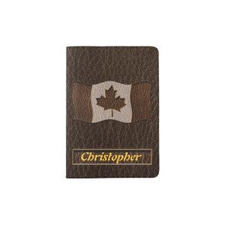 Protège-passeport Obscurité simili cuir de drapeau du Canada