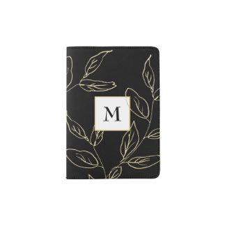 Protège-passeport Or chic de noir et de Faux botanique avec le