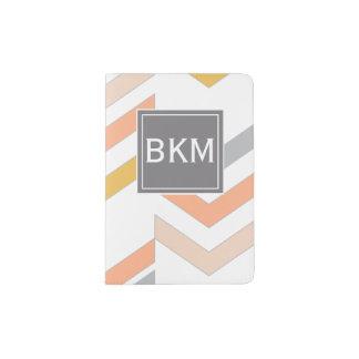 Protège-passeport Rétros chevrons modernes motif, monogramme, corail