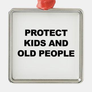 Protégez les enfants et les personnes âgées ornement carré argenté