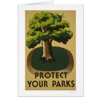 Protégez vos parcs WPA 1938 Carte De Vœux