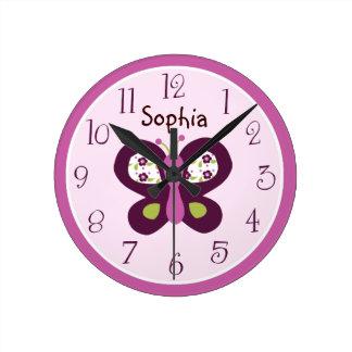 Prune de sucre/horloge personnalisées de papillon horloge ronde