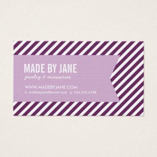 Prune et rayures et ruban modernes pourpres lilas cartes de visite