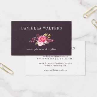 Prune Luxe et carte de visite botanique rose de