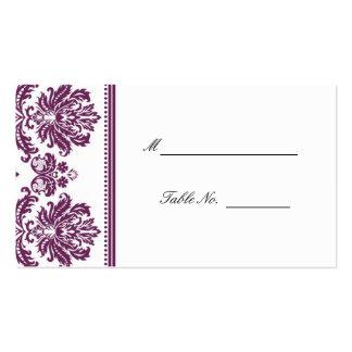 Prune mariage damassé posant Placecards Carte De Visite