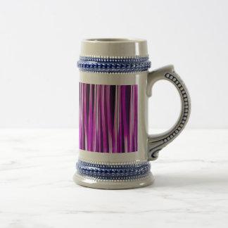 Prune pourpre et et lignes rayées motif de chope à bière