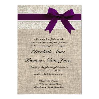 Prune rustique d'invitation de mariage de dentelle carton d'invitation  12,7 cm x 17,78 cm