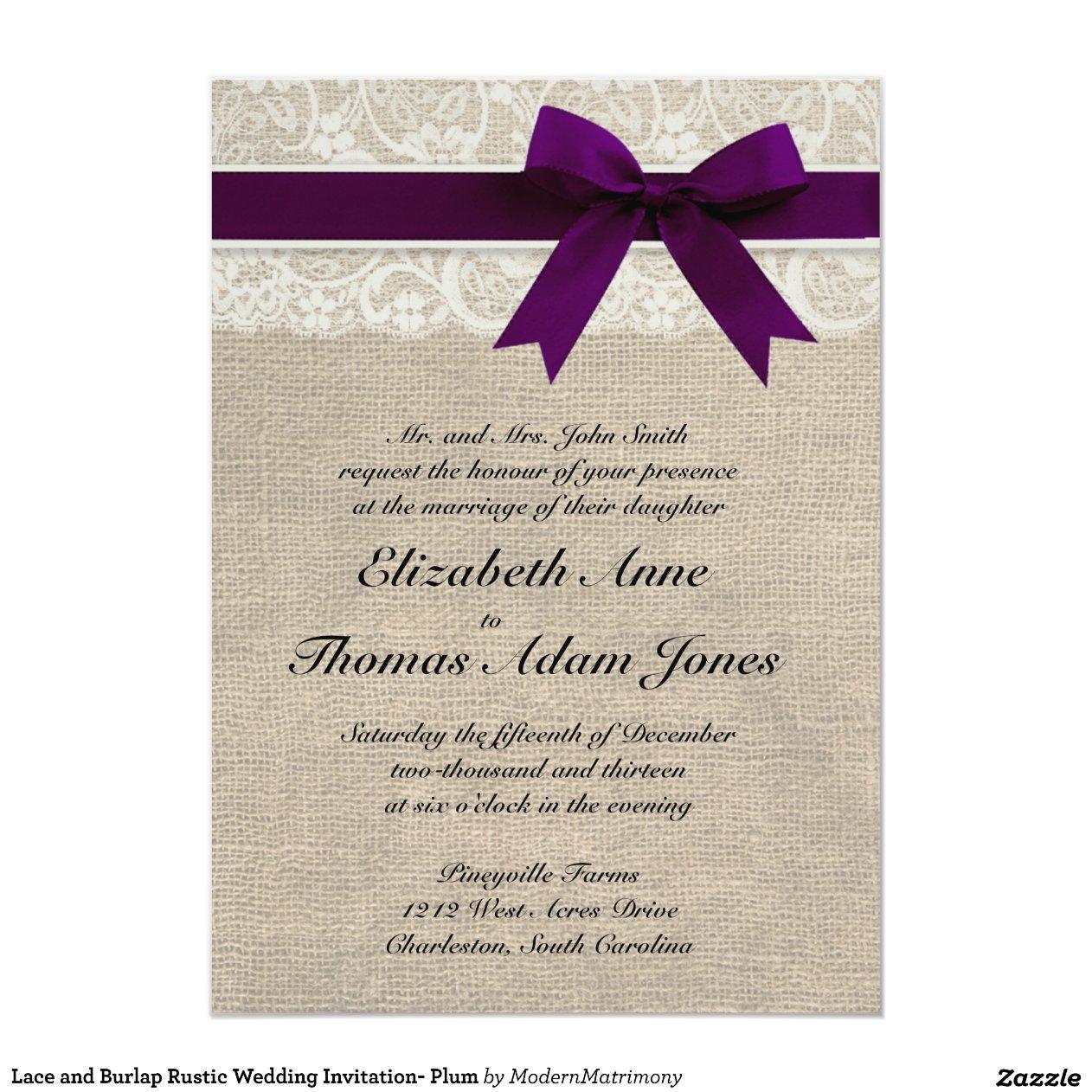 prune rustique d 39 invitation de mariage de dentelle carton d 39 invitation 12 7 cm x 17 78 cm zazzle. Black Bedroom Furniture Sets. Home Design Ideas