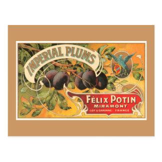 Prunes impériales carte postale
